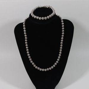 sterling silver 925 bead necklace Bracelet Set